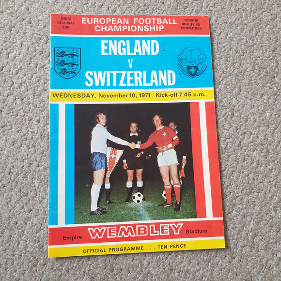 England v Switzerland 1971