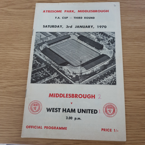 Middlesbrough v West Ham Utd 1969/70 FA Cup 3rd Round
