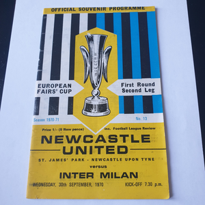 Newcastle United v Inter Milan Fairs Cup Programme 1970/1