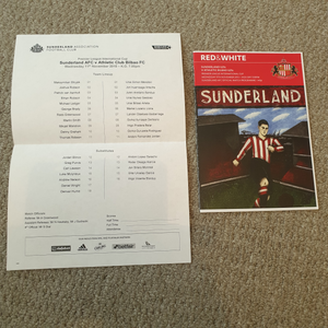 Match Programme Sunderland U21s v Athletic Bilboa U21s inc Teamsheet