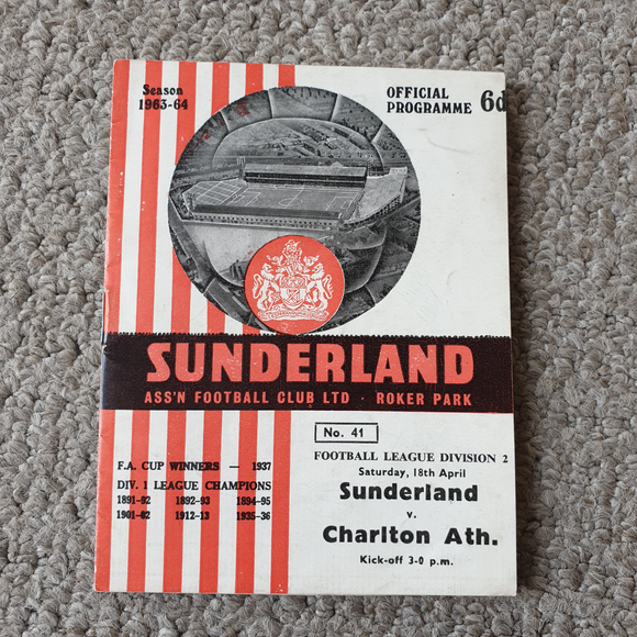 Match Programme Sunderland v Charlton Athletic 1963/4