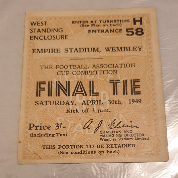 Ticket 1949 FA Cup Final Leicester City v Wolves