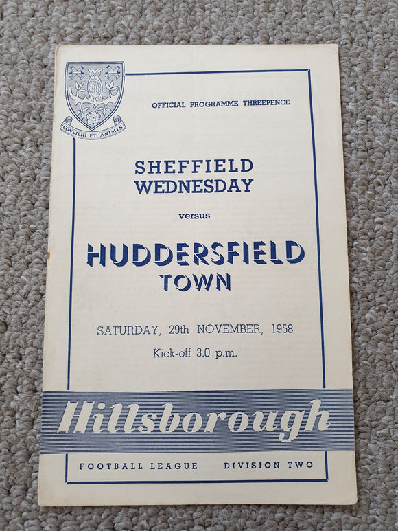 Match Programme - Sheffield Wednesday vs Huddersfield 1958/59