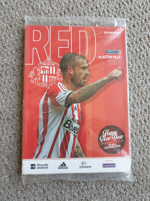 Match Programme Sunderland v Aston Villa 2013/14 SEALED