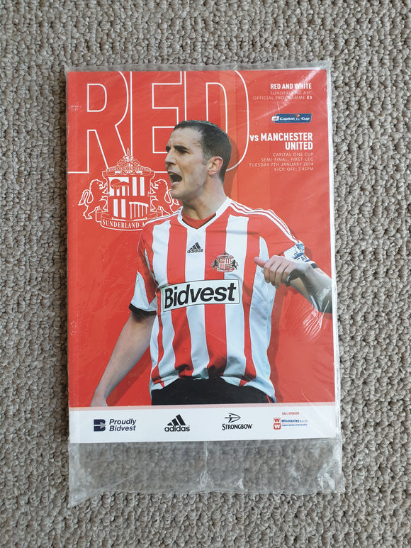 Match Programme Sunderland v Manchester United League Cup Semi Final 2013/14