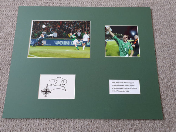 Signed Mounted Display - David Healy (Northern Ireland 2006 v England)