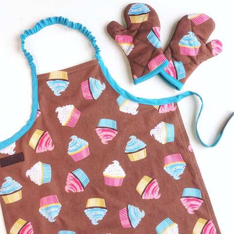 Blue and Pink Cupcakes Apron Set