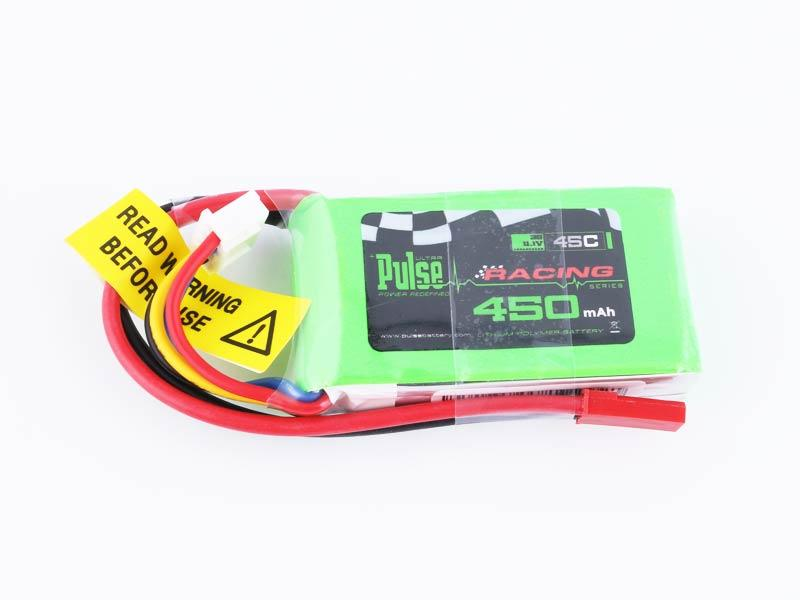 PULSE 450mAh 11.1V 3S 45C Lipo Battery with red JST connector