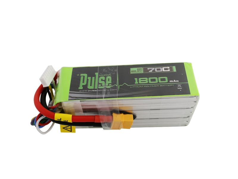 PULSE 1800mAh 6S 22.2V 70C LiPo Battery - XT60 Plug