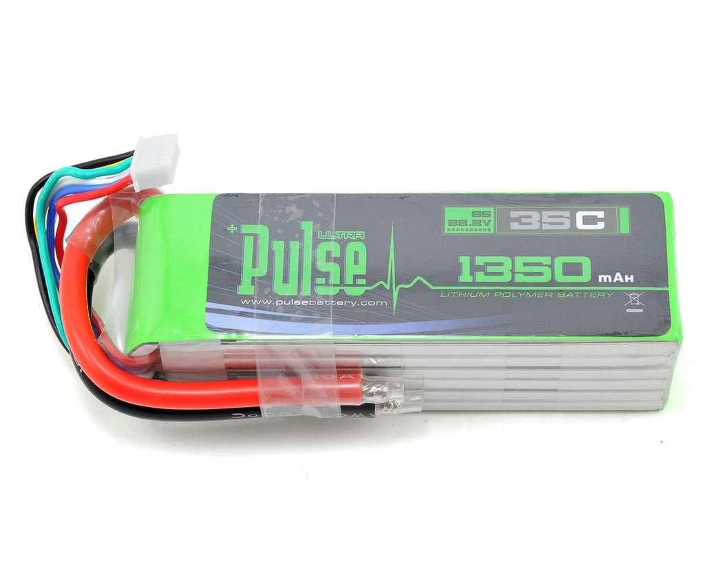 PULSE 1350mah 35C 22.2V 6S LiPo Battery - No Connector