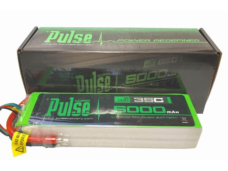 PULSE 5000mah 35C 14.8V 4S LiPo Battery - No Connector