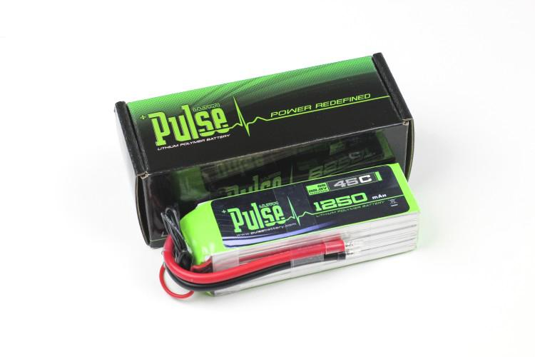 PULSE 1250mAh 6S 22.2V 45C LiPo Battery - No Plug