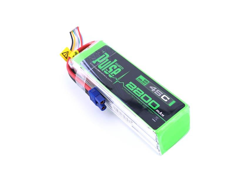 PULSE 2200mAh 6S 22.2V 45C LiPo Battery - EC3 Plug