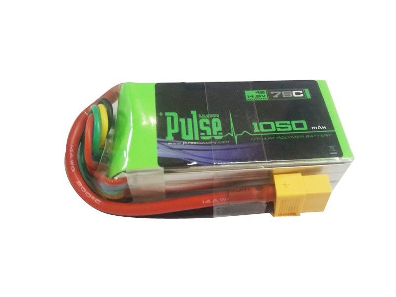 PULSE 1050mAh 75C 14.8V 4S LiPo Battery - XT60 Connector