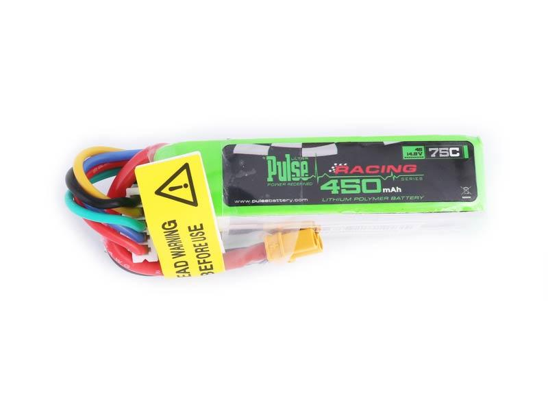 PULSE 450mAh 75C Long Pack 14.8V 4S LiPo Battery - XT30 Connector