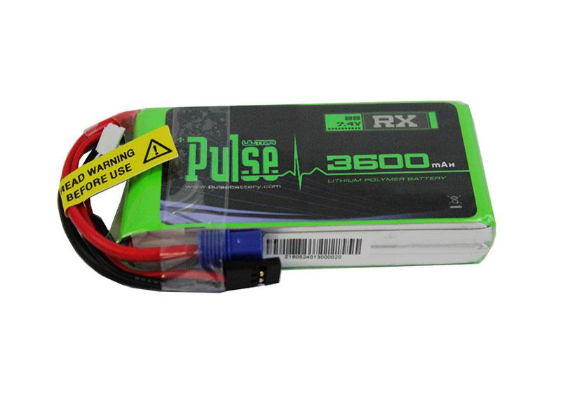 PULSE 3600mAh 15C 7.4V 2S Receiver LiPo Battery - EC3 Connector