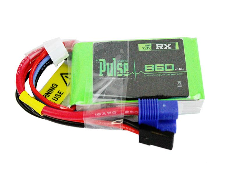 PULSE 860mAh 15C 7.4V 2S Receiver LiPo Battery - EC3 Connector