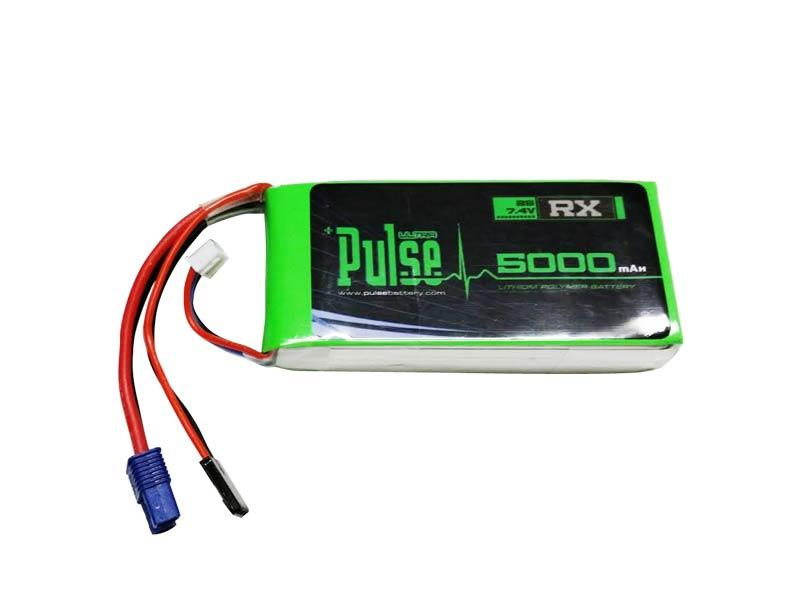 PULSE 5000mAh 15C 7.4V 2S Receiver LiPo Battery - EC3 Connector