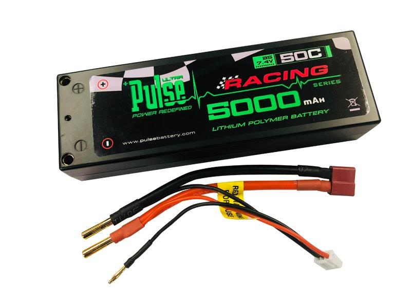 PULSE 5000mah 2S 7.4V 50C Hardcase LiPo Battery w/ 4mm Bullets to Dean's