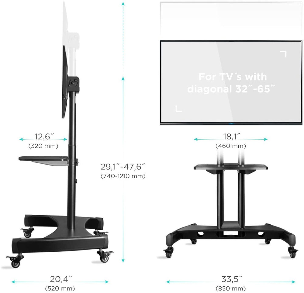 "ONKRON TS1330-BLK Base móvil para panel táctil y TV de 32"" – 65"" inclinable a 90°"