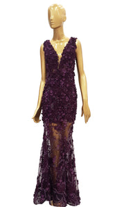 Deep Purple 3D Flower Dress
