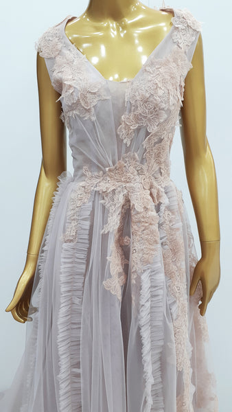 Tulle Dress With Lace Appliqués