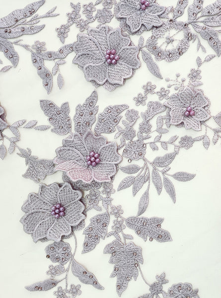 Soft Lavender 3D embroidery lace