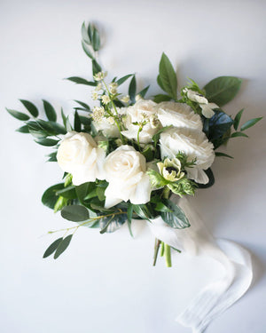 bridesmaid bouquet with white roses and lush greenery wedding flowers vancouver olfco our little flower company