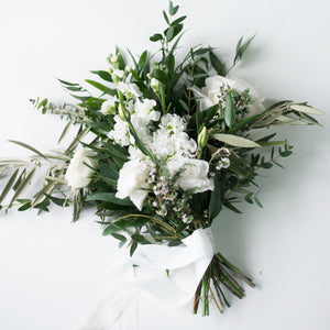 bridesmaid bouquet with white and green flowers wedding flowers vancouver olfco our little flower company