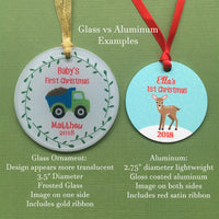 personalized construction truck Christmas ornament