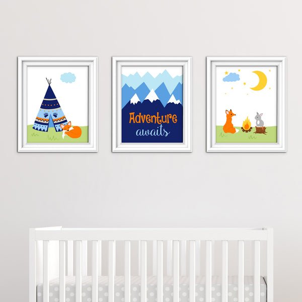tribal nursery decor with fox and mountains in blue, navy and orange