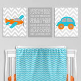 Transportation nursery prints with an airplane, car and boy's rules