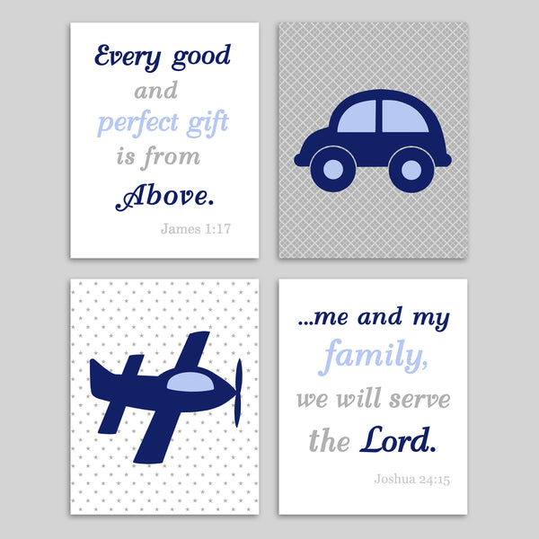 set of 4 transportation and scripture nursery art prints in navy, periwinkle and gray