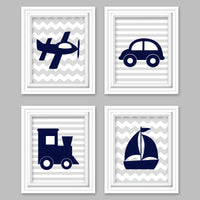 transportation nursery pictures in navy and gray with an airplane, car, train and sailboat