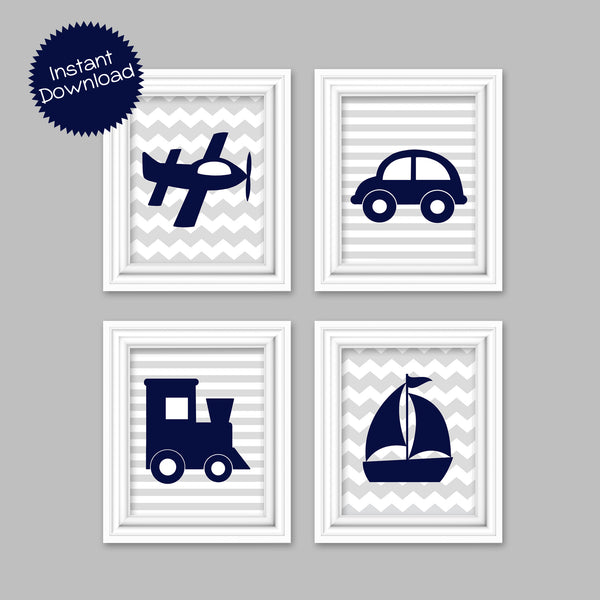 Printable Transportation Pictures | Airplane Car Train Sailboat | Vehicle Decor | Instant Download