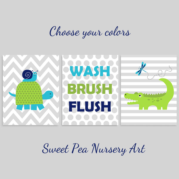 Set of three alligator and turtle kids' bathroom wall art prints with Wash, Brush Flush.