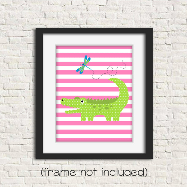 alligator nursery art for baby girl