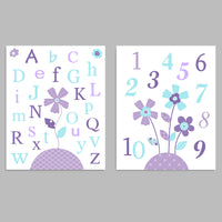 Set of two baby girl nursery art prints with flowers in aqua and purple, one with the alphabet and one with numbers