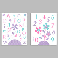 Set of two baby girl nursery art prints with flowers, one print with the alphabet and one with numbers.