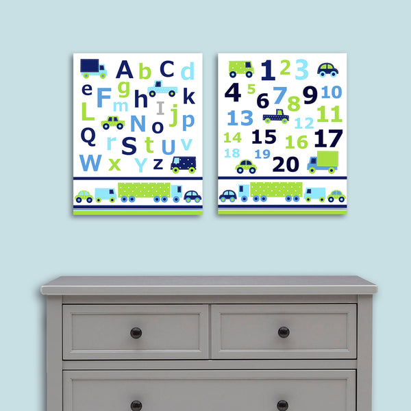 blue and green alphabet and numbers car prints