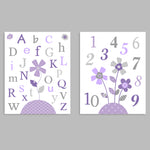 Set of two nursery art prints with flowers and the alphabet and numbers