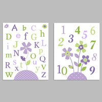 Set of two green and purple nursery art prints with the alphabet on one and numbers on the other with flowers.