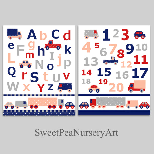 set of two baby boy nursery art prints with alphabet and numbers in gray, red, peach and navy with cars and trucks. Matches pottery barn landon