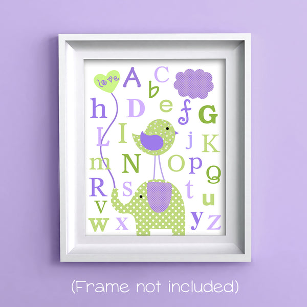 green and purple alphabet print with elephant