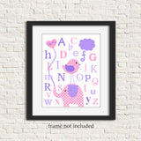 pink and purple alphabet print with elephant and bird