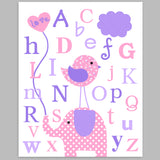 alphabet nursery art print with elephant and bird in pink and purple