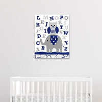 navy and gray alphabet canvas