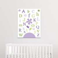 green and purple flower nursery canvas
