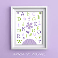 green and purple alphabet with flowers nursery print