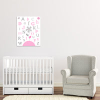 alphabet print with flowers in grey and pink